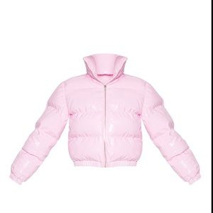 Bubble gum pink puffer jacket